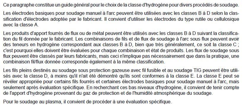 Choix des classes d'hydrogène