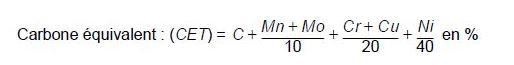 Autre formule du carbone équivalent
