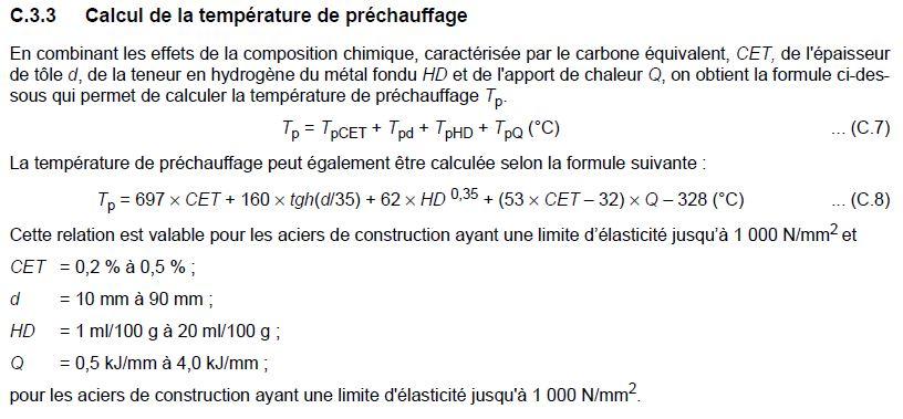 Formule temperature prechauffage
